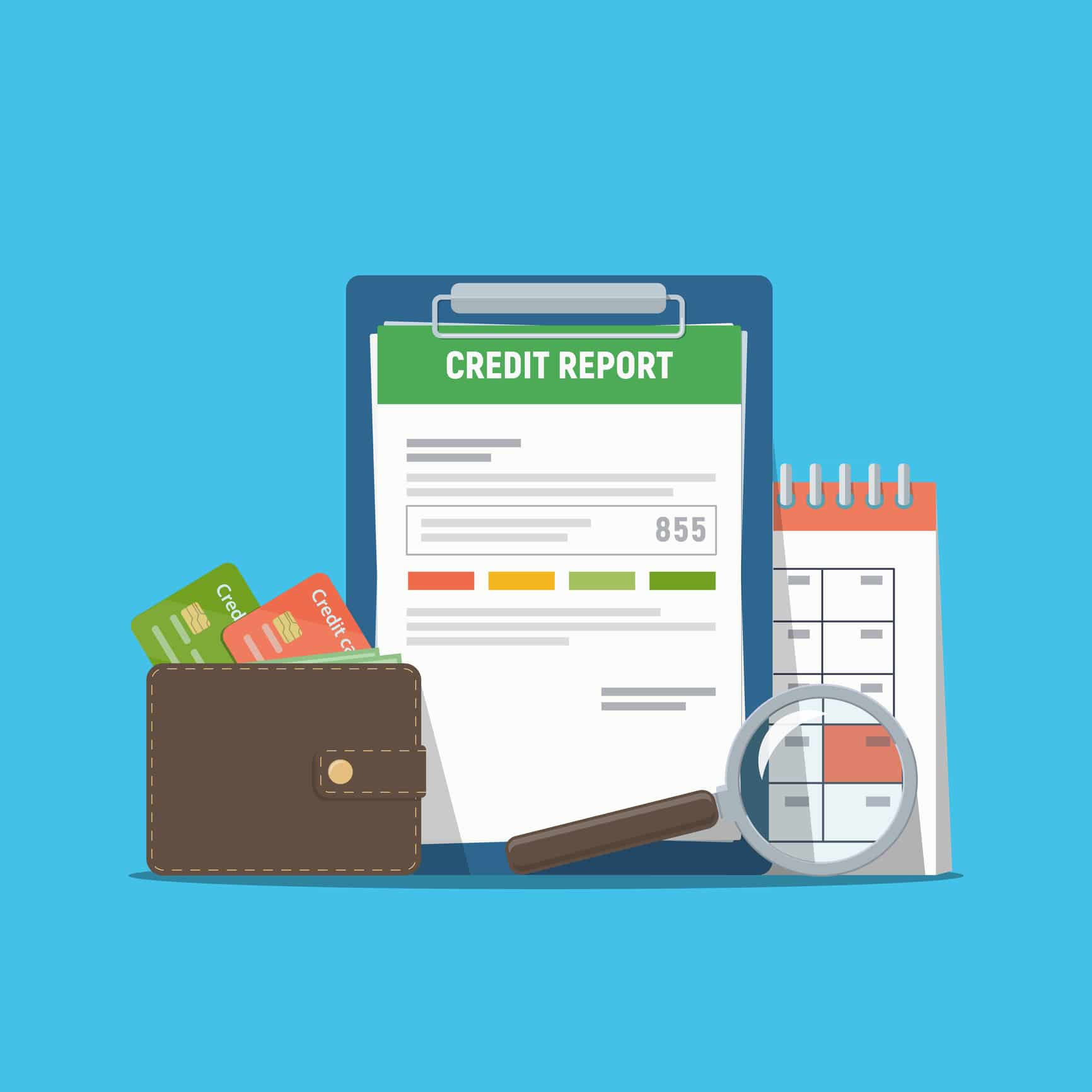 Image of a credit report showing a person's credit score