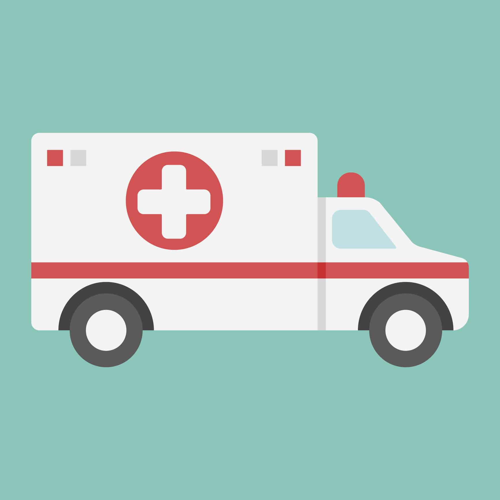 An ambulance en route to the Emergency Room