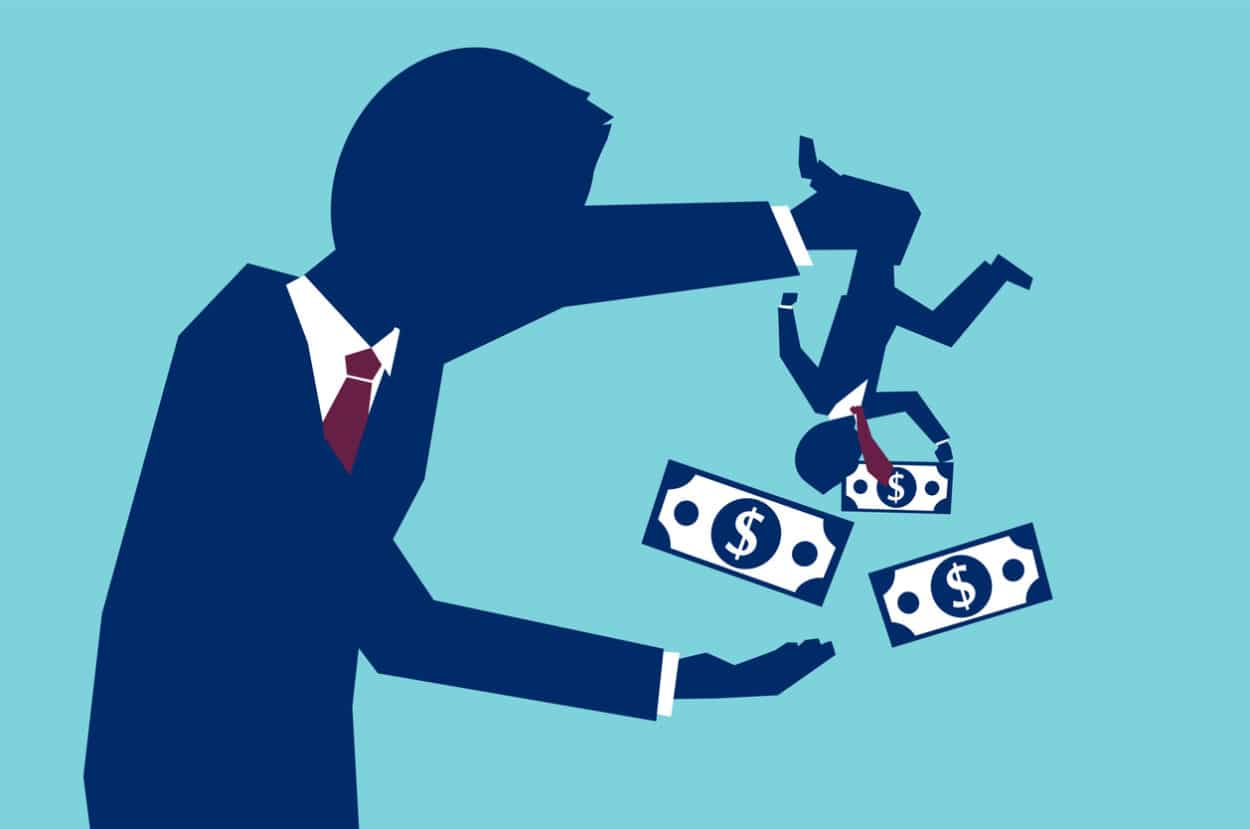 Image of man shaking out money