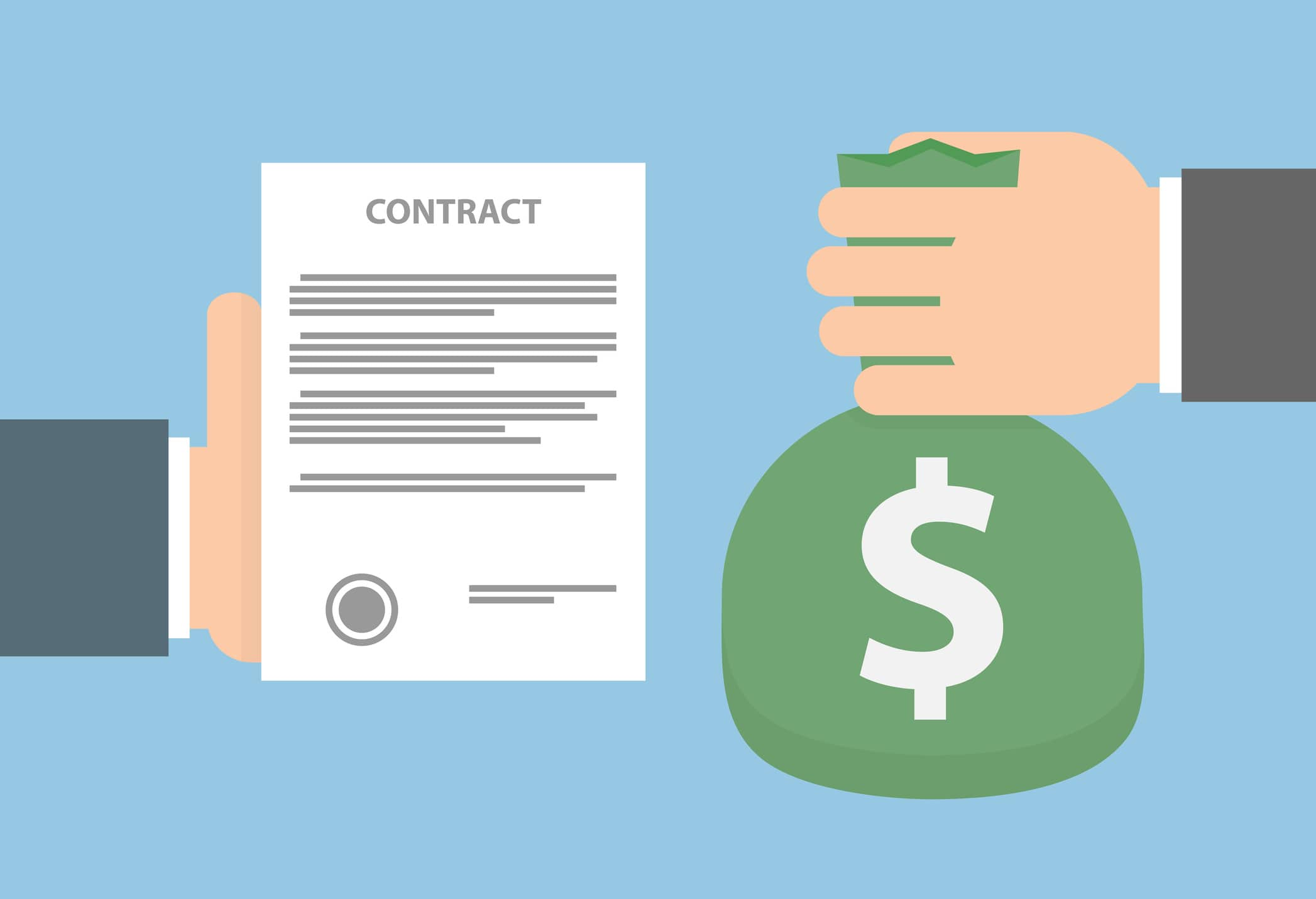 Image of a contract being exchanged for money